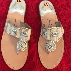 New Jack Rodgers Metallic Silver Sandals Size 11